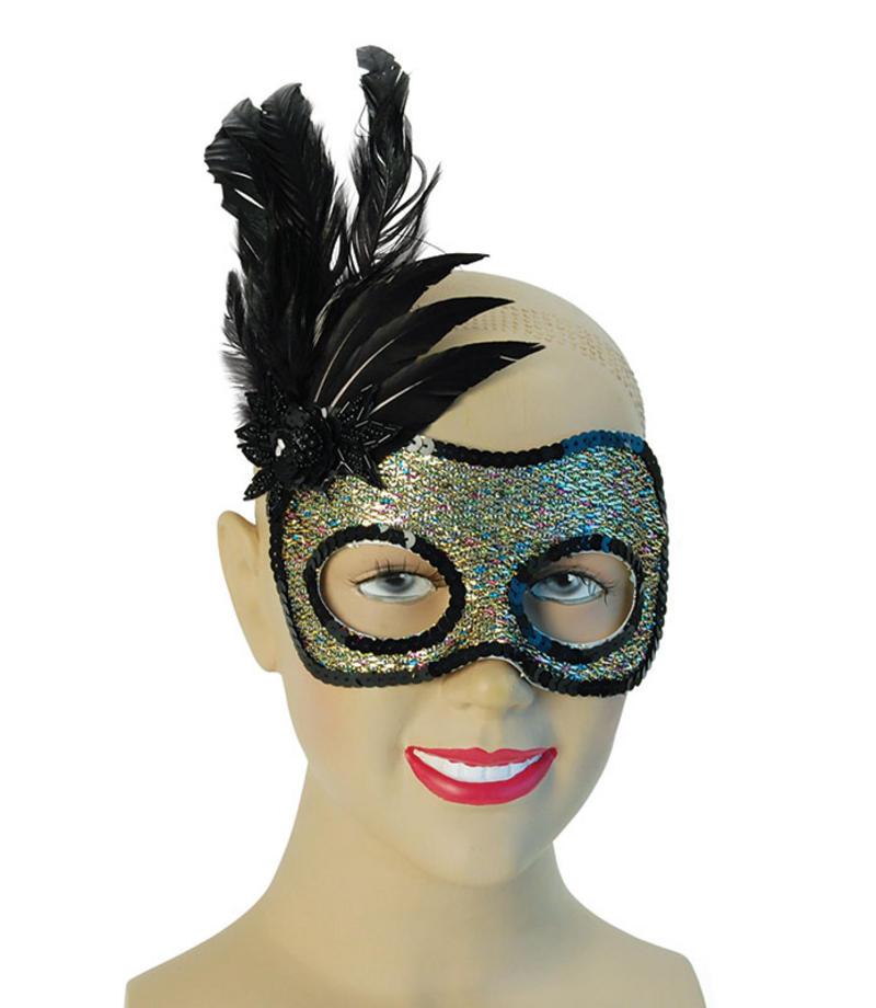 Multi Colour Black Feather Eye Mask Masquerade Ball Mardi Gras Fancy Dress