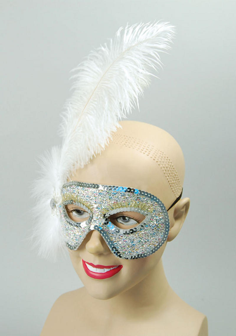 Silver Glitter Ostrich Feather White Eye Mask Masquerade Ball Fancy Dress
