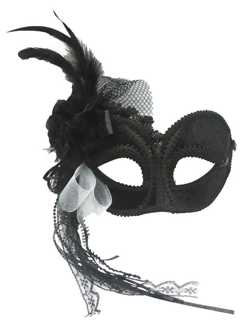 Black Eye Mask With Flower Detail Venetian Masquerade Ball Fancy Dress