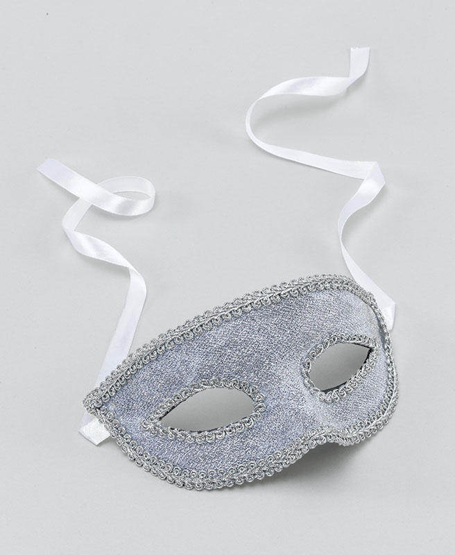 Silver Eye Mask With Ribbon Tie Masquerade Ball Fancy Dress