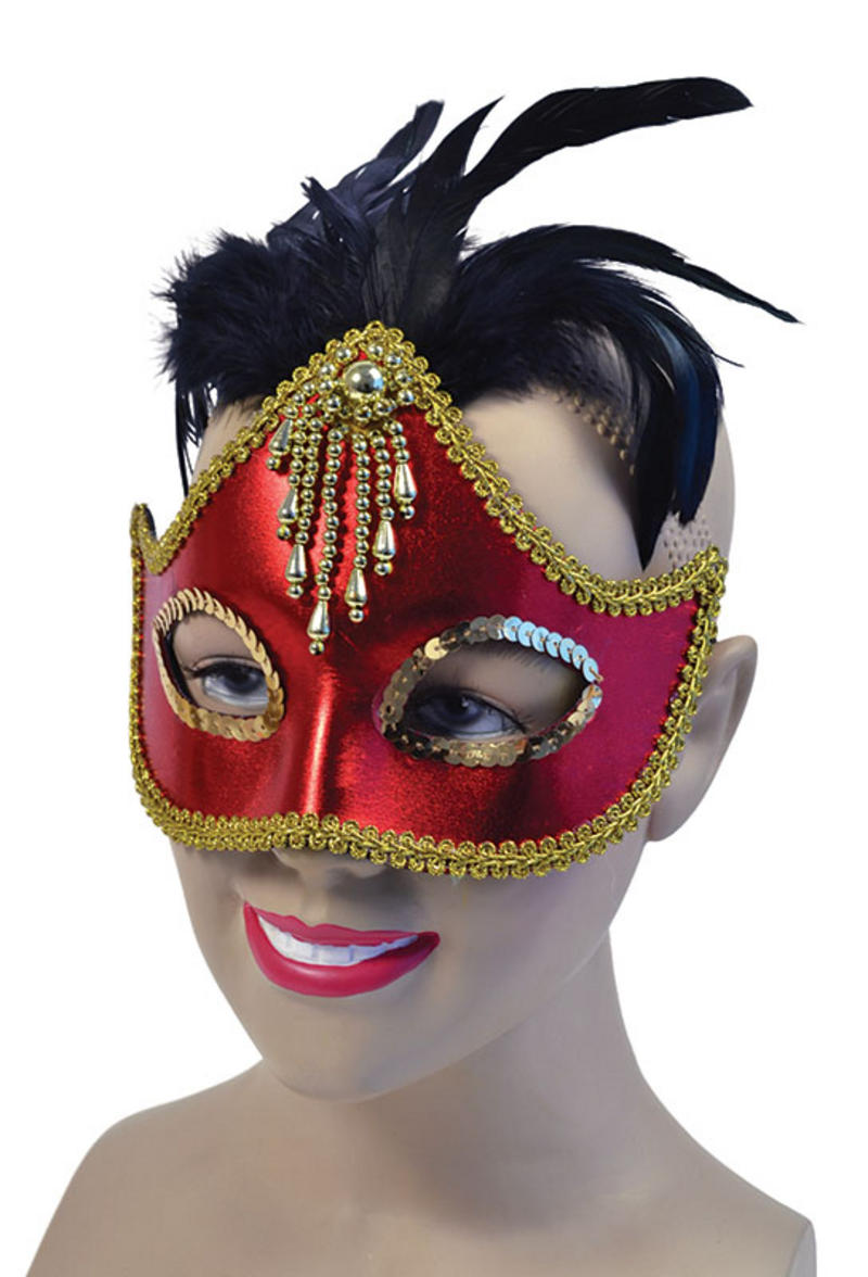 Red Mask With Centre Feathers Masquerade Ball Venetian Fancy Dress