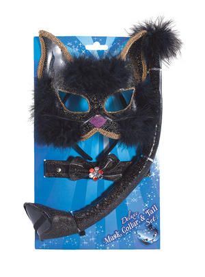 Black Glitter Cat Set Mask Belt Ears Black Cat Animal Halloween Fancy Dress