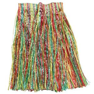 Adult Grass Skirt Multi Coloured Hawaiian Hula Girl Beach Party Fancy Dress