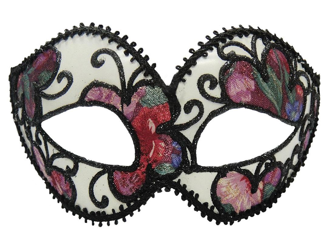White Black Flower Eye Mask Venetian Masquerade Ball Mardi Gras Fancy Dress