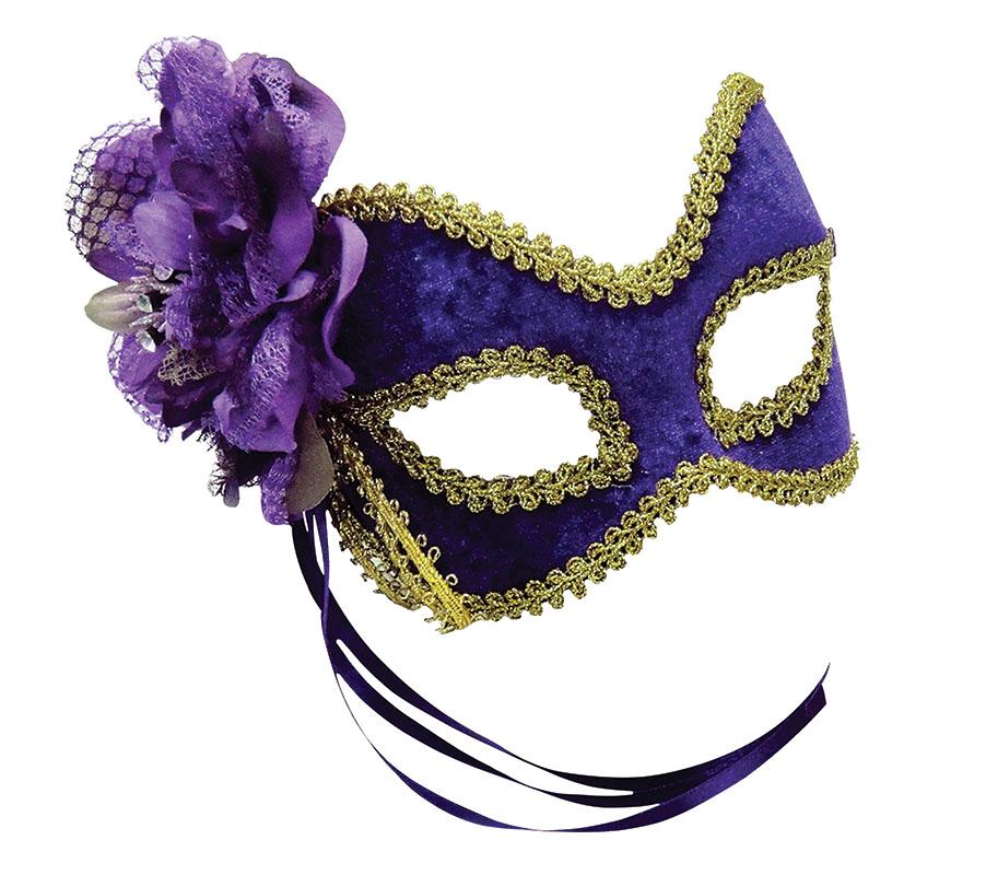 Purple Mask With Side Flower Venetian Masquerade Ball Mari Gras Fancy Dress