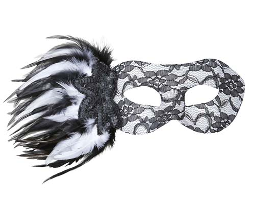 Black & White Lace Eye Mask Eyemask With Sequin Rose & Feathers Fancy Dress