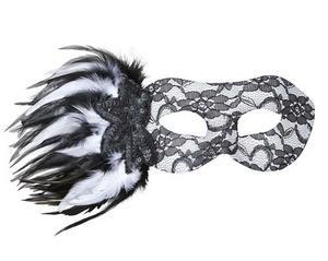 Black & White Lace Eye Mask Eyemask With Sequin Rose & Feathers Fancy Dress