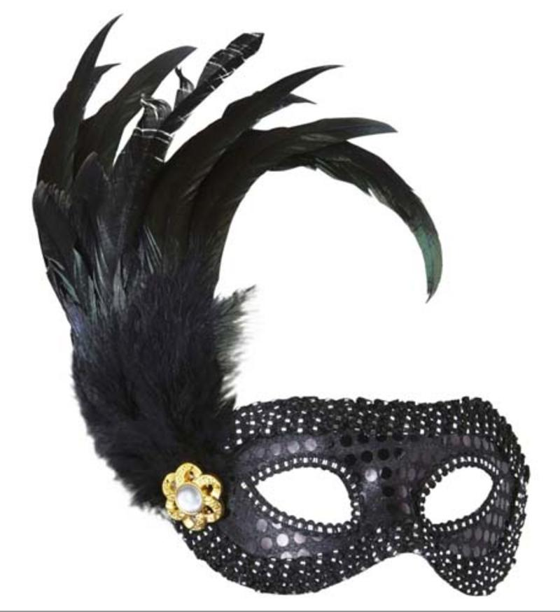 Ladies Black Sequin Eyemask Eye Mask & Feathers Masquerade Fancy Dress