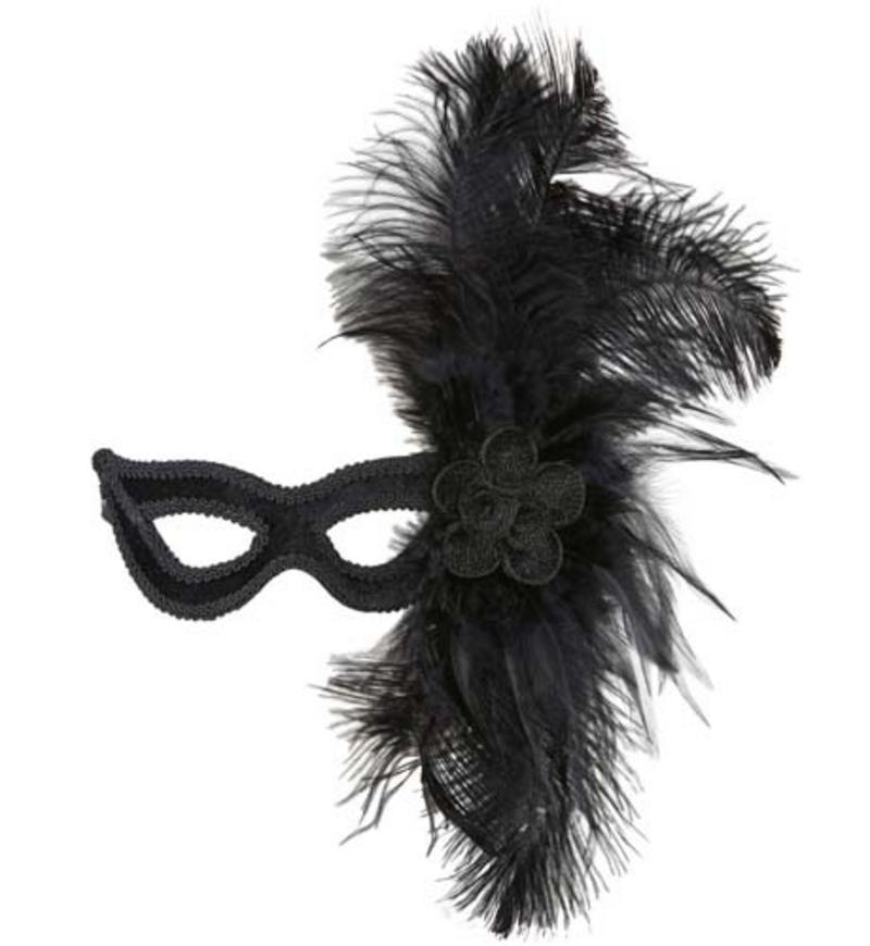Black Velour Eye Mask Eyemask With Rose & Large Feathers Masquerade Fancy Dress