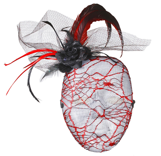 Red Spiders Web Mesh Net Face Mask Masquerade Ball Party Festival Fancy Dress