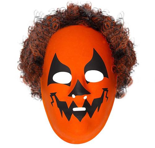 Orange Pumpkin Monster Mask With Hair Halloween Fancy Dress