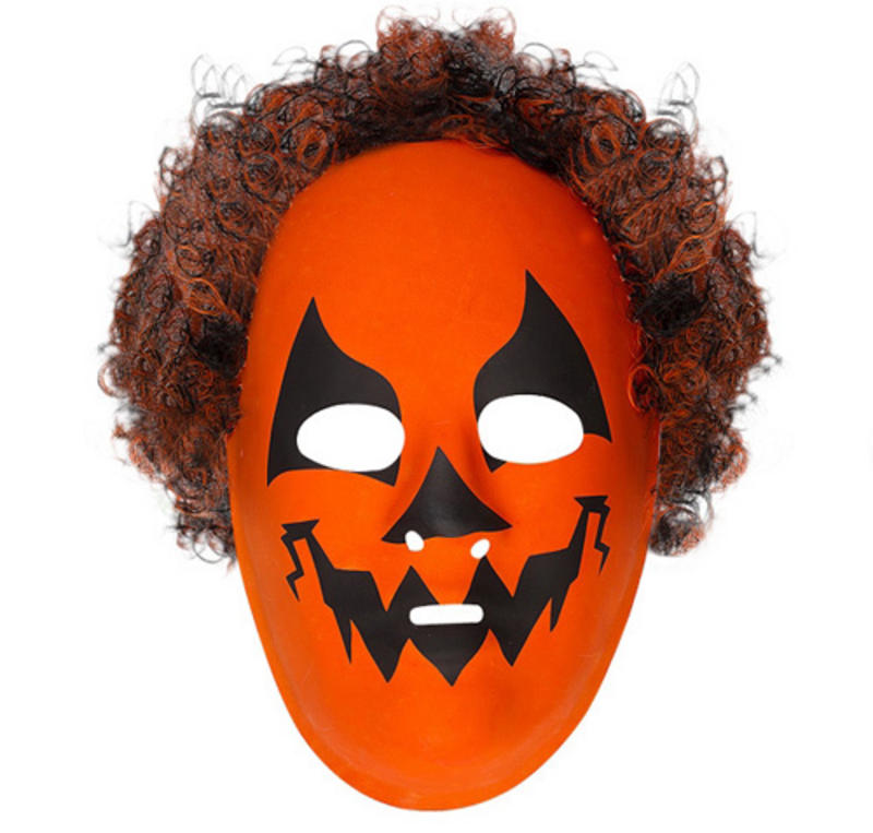 Orange Pumpkin Monster Mask With Hair Halloween Fancy Dress