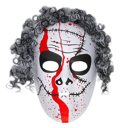 White Monster Hockey Mask  With Blood Detail & Hair Halloween Fancy Dress