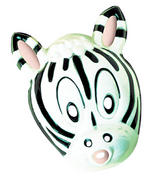 Adult Plastic Black & White Zebra Mask Animal Zoo Fancy Dress
