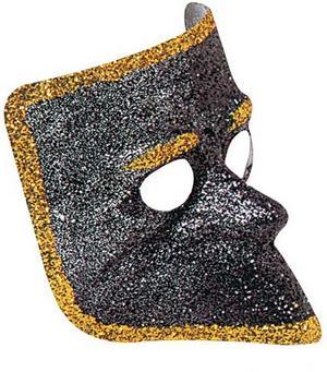 Black Glitter Venetian Face Mask Masquerade Ball Party Fancy Dress