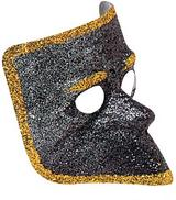 Black Glitter Venetian Face Mask Masquerade Ball Party Fancy Dress