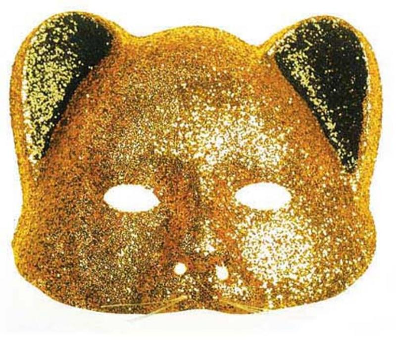 Gold Glitter Cat Mask Masquerade Party Ball Fancy Dress