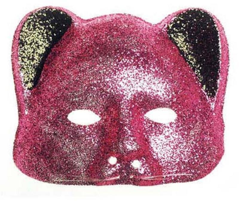 Pink Glitter Cat Mask Masquerade Party Ball Fancy Dress