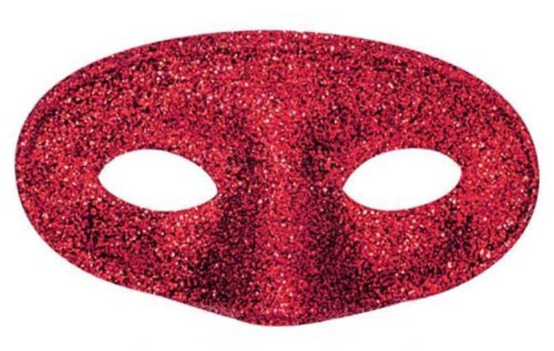 Red Glitter Eye Mask Eyemask Masquerade Ball Party Halloween Fancy Dress