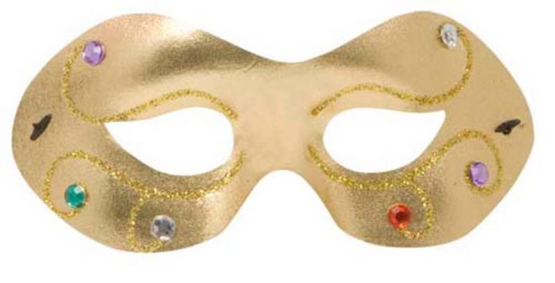 Jewelled Gold Metallic Fabric Eyemask Eye Mask Masquerade Ball Fancy Dress