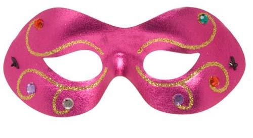 Jewelled Pink Metallic Fabric Eyemask Eye Mask Masquerade Ball Fancy Dress