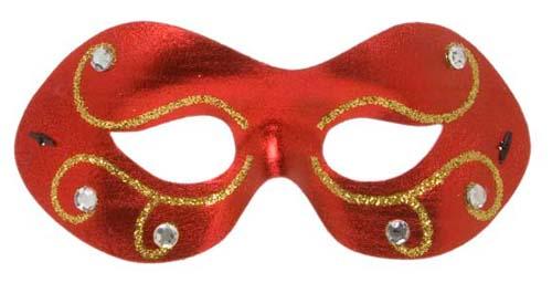 Jewelled Red Metallic Fabric Eyemask Eye Mask Masquerade Ball Fancy Dress
