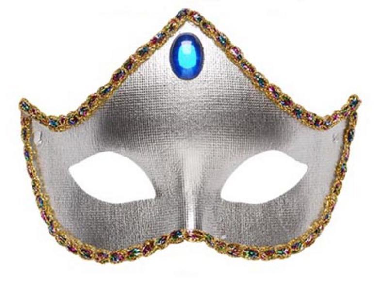 Silver Fabric Eyemask Eye Mask Regal Masquerade Ball Party Fancy Dress