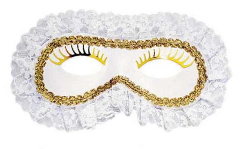 Ladies White Lace Venetian Eye Mask Eyemask Masquerade Ball Party Fancy Dress