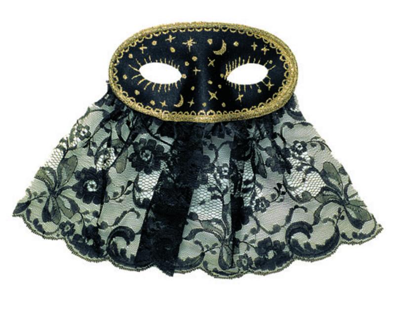 Black Veiled Eye Mask Eyemask With Gold Detail Arabian Masquerade Fancy Dress