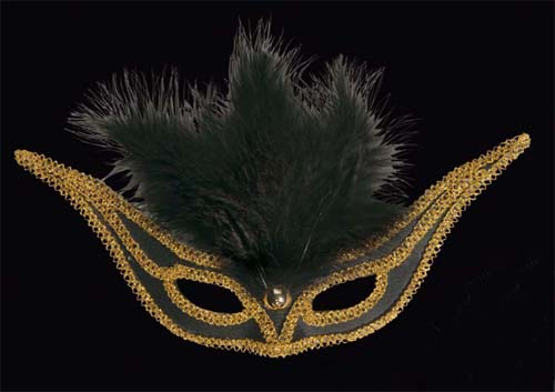 Black Swallow Eyemask Eye Mask With Feathers Masquerade Ball Fancy Dress