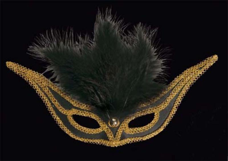 Black Swallow Eyemask Eye Mask With Feathers Masquerade Ball Fancy Dress