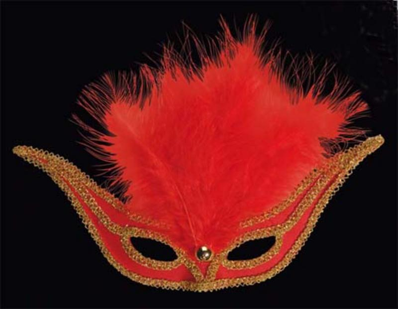 Red Swallow Eyemask Eye Mask With Feathers Masquerade Ball Fancy Dress