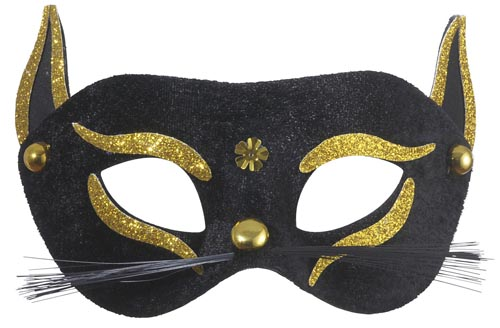 Black & Gold Cat Eyemask Eye Mask Masquerade Ball Party Fancy Dress