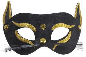Black & Gold Cat Eyemask Eye Mask Masquerade Ball Party Fancy Dress