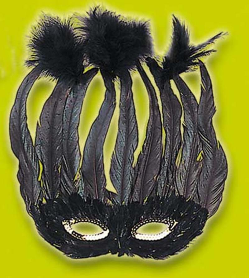 Black Feather Eye Mask Eyemask Drag Queen Mardi Gras Fancy Dress
