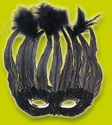 Black Feather Eye Mask Eyemask Drag Queen Mardi Gras Fancy Dress