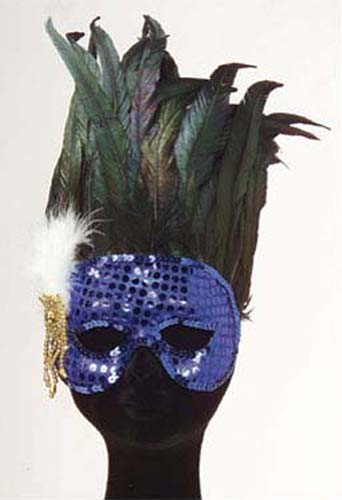 Blue Sequin Eye Mask With Feathers Masquerade Ball Party Mardi Gras Fancy Dress