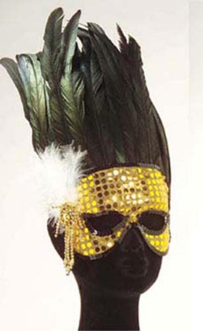 Gold Sequin Eye Mask With Feathers Masquerade Ball Party Mardi Gras Fancy Dress