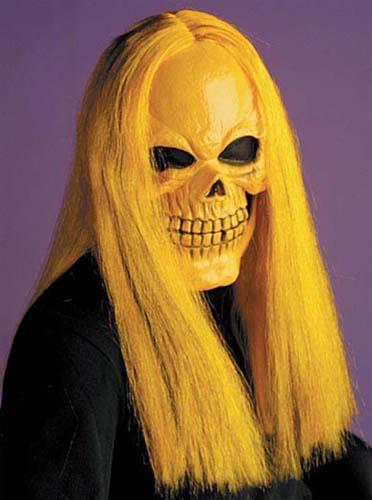 Skull Mask With Orange Hair Skeleton Horror Halloween Fancy Dress