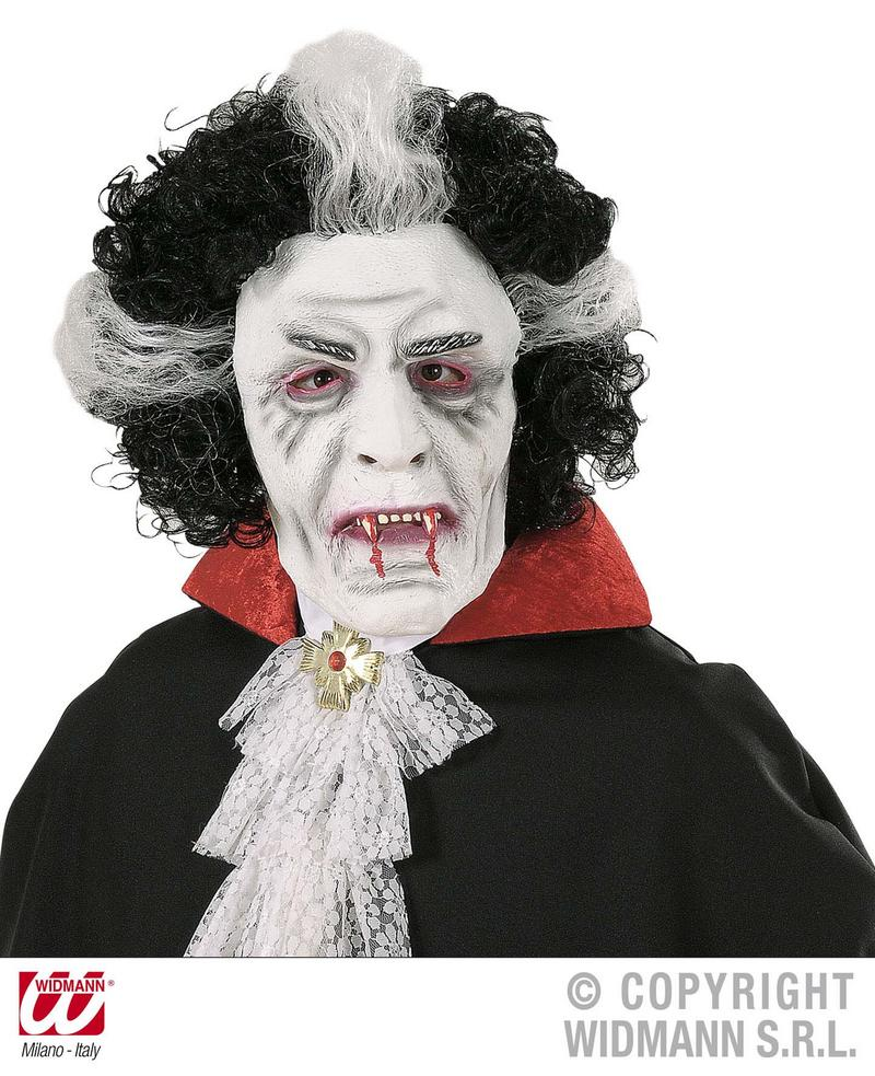 Adult Vampire Mask & Wig Halloween Fancy Dress Accessory Count Dracula