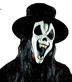 Glow In The Dark Scream Mask With Teeth Hat & Hair Halloween Fancy Dress