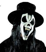 Glow In The Dark Scream Mask With Teeth Hat & Hair Halloween Fancy Dress