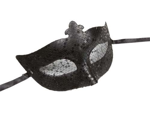 Black Sequin & Lace Eyemask Eye Mask Masquerade Ball Party Halloween Fancy Dress