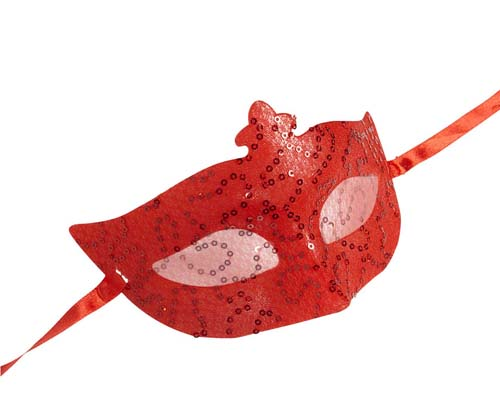 Red Plastic Sequin & Lace Eyemask Eye Mask Masquerade Ball Party Fancy Dress