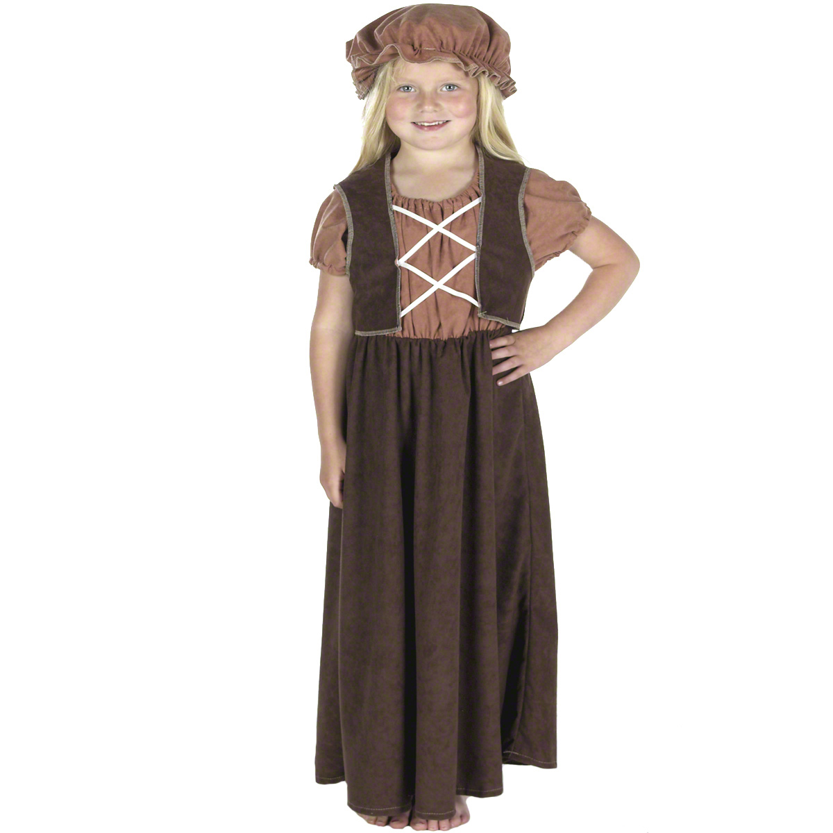 Childrens Brown Little Nell Fancy Dress Outfit Victorian Oliver Costume 128Cm
