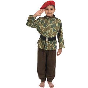Childrens Camo Army Outfit With Red Beret Fancy Dress Costume 140Cm  8-10 Years