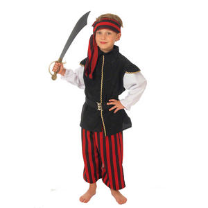 Childrens Red & Black Pirates Fancy Dress Costume Outfit 128Cm 6-8 Years