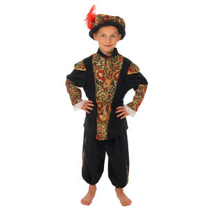 Childrens Black Tudor Fancy Dress Costume Lord Buckingham Outfit 140Cm 8-10 Year