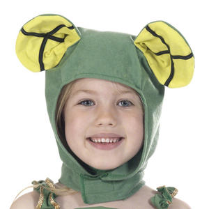 Childrens Green Frog Hood Fancy Dress Accessory Ages 3-9