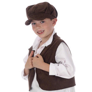 Childrens Brown Victorian Street Urchin Waistcoat Fancy Dress Oliver Twist